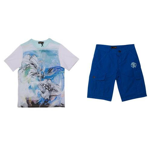 Blue Polo Shirt with Bermuda Shorts