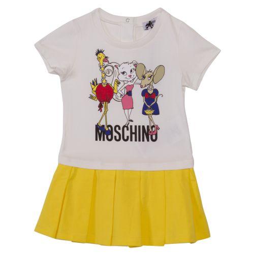 White Yellow Dress with Animal Print