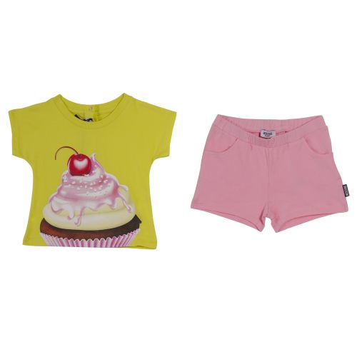 "Yellow ""Cupcake"" T-Shirt with Pink Shorts"