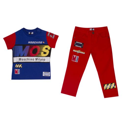 Moschino   Printed T-Shirt With Red Sleeves & Red Printed Pants - Blue