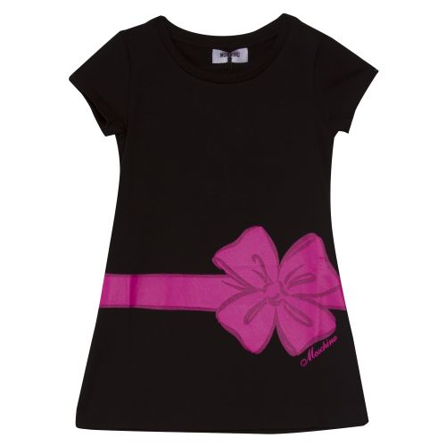 Black Short Sleeve Dress with Pink Ribbon Print Design