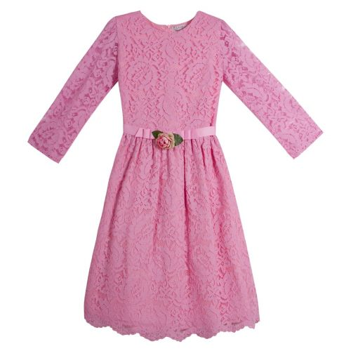Pink Long Sleeve Floral Dress