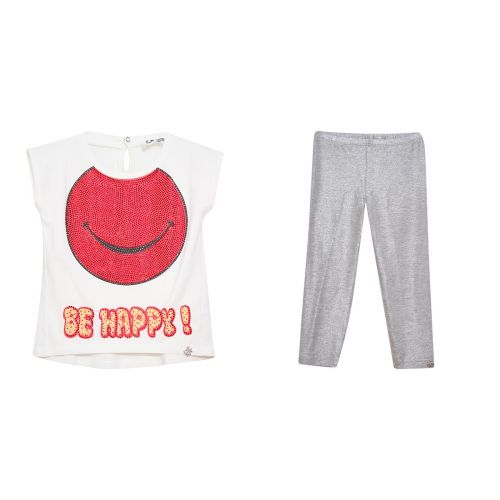 "White ""Be Happy"" T-Shirt & Leggings"