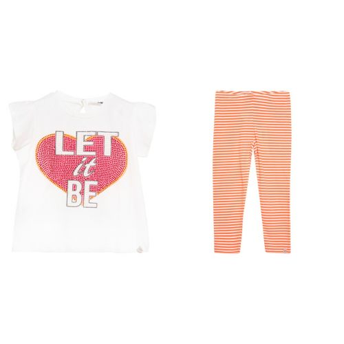 "White ""Let It Be"" T-Shirt & Leggings"