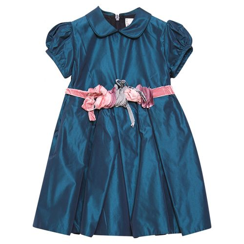 Blue Puffed Sleeves Dress