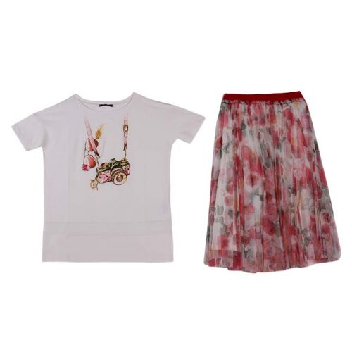 Monnalisa T-Shirt with Long Skirt - Red
