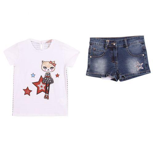 White T-Shirt with Denim Shorts