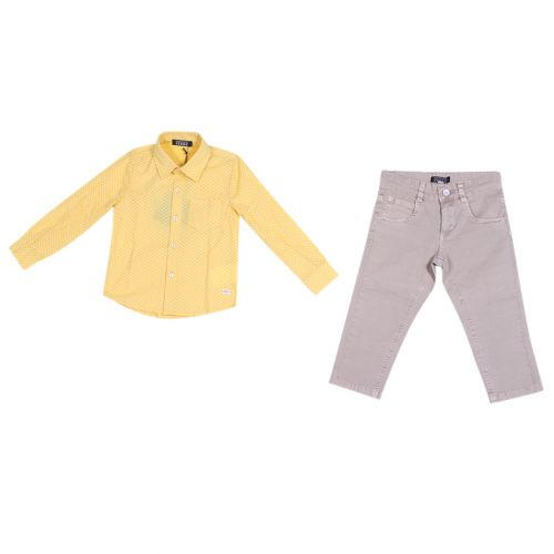Yellow Polka Dot Polo with Pants