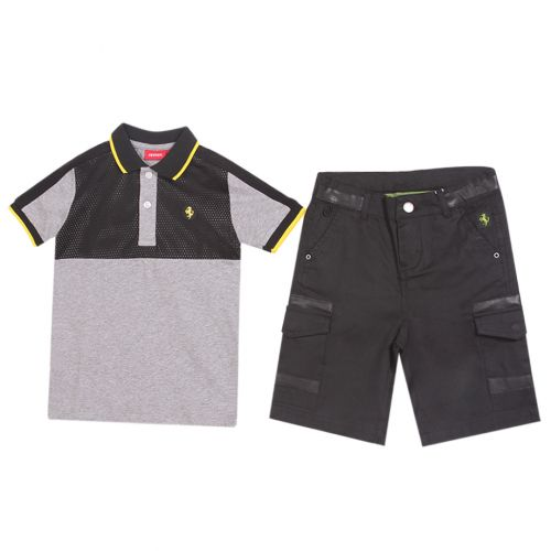 Gray Polo Shirt with Shorts
