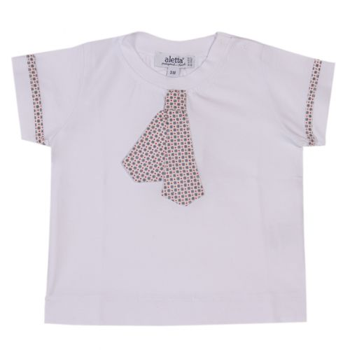 White T-Shirt with Checkered Tie