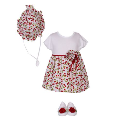 Aletta Set of Dress, Hat & Shoes - White