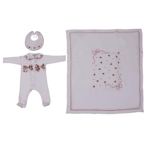 White Baby Ribbon Bib, Overall & Blanket