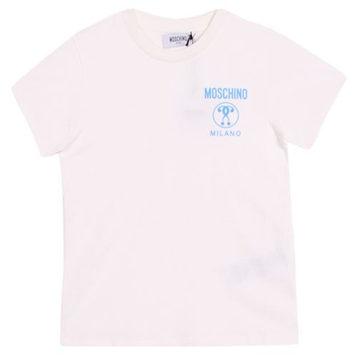 White T-Shirt with Moschino Milano Logo