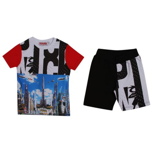 "Multicolored T-Shirt with Brand Name and ""Burj Khalifa - Dubai"" Print Design"
