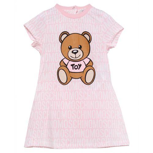 Pink Short-sleeve Dress with Teddy Bear Print