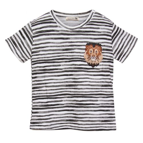White T-Shirt with Black Stripes and Lion Patch