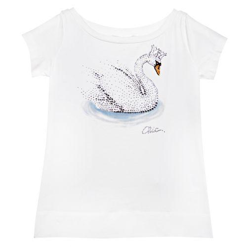 White T-Shirt with Swan Hotfix Rhinestones Design