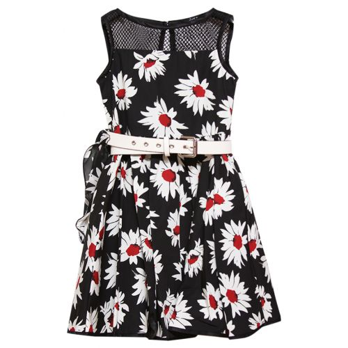 Black Sleeveless Floral Dress