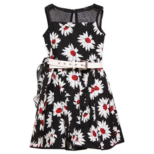 Black Sleeveless Floral Dress