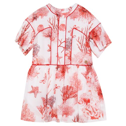 Red Dress with Coral Reef Print Design