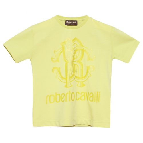 Yellow T-Shirt with Roberto Cavalli Logo Print