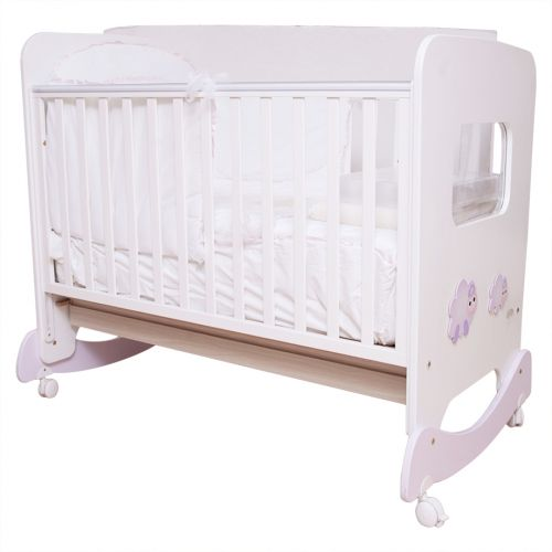 White Crib with Baby Bed, Blanket and Pillow