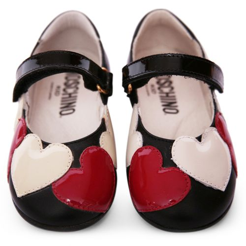 Black Shoes with Heart Design