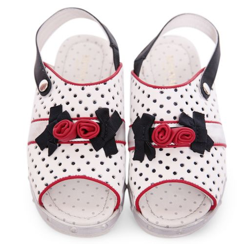 White Sandal with Polka Dot Design