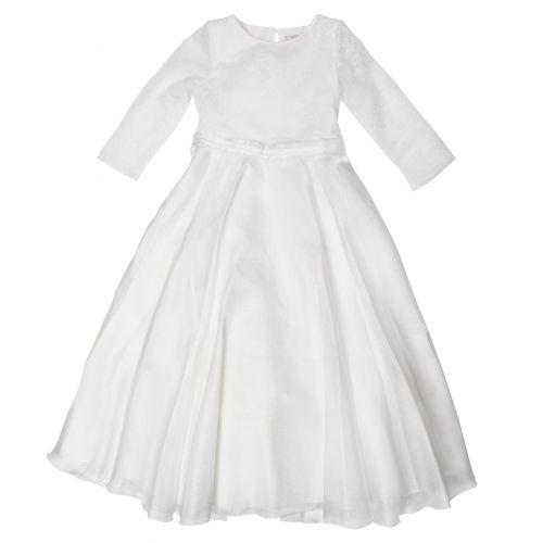 Cream Embroidered Design Dress with Belt