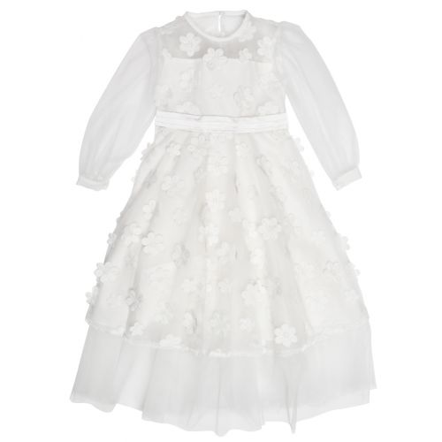 Cream Floral Design Dress with Belt