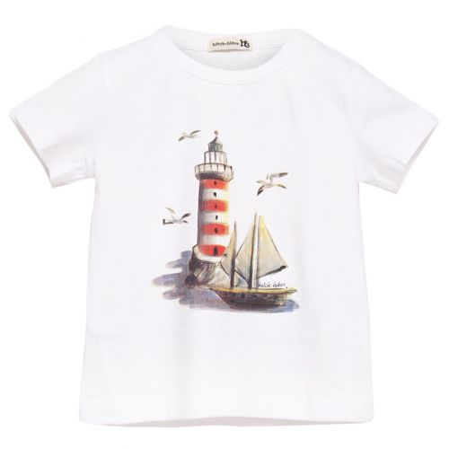 White T-Shirt with Lighthouse and Boat