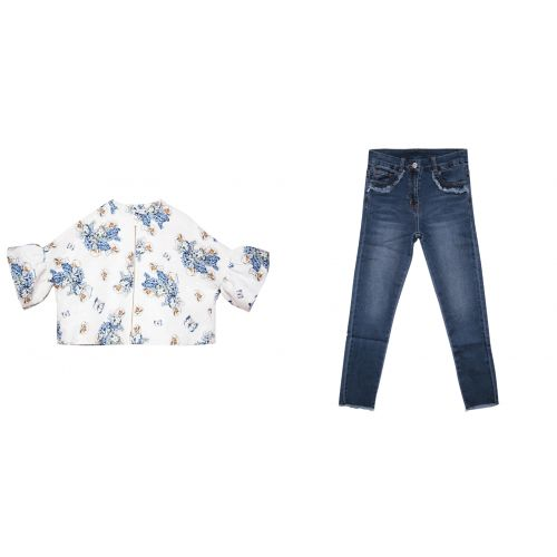 Blue Floral Top with Jeans