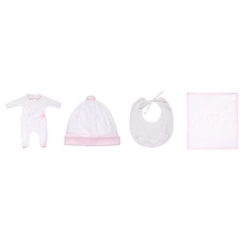 Pink Floral Pyjama with Hat, Bib & Blanket