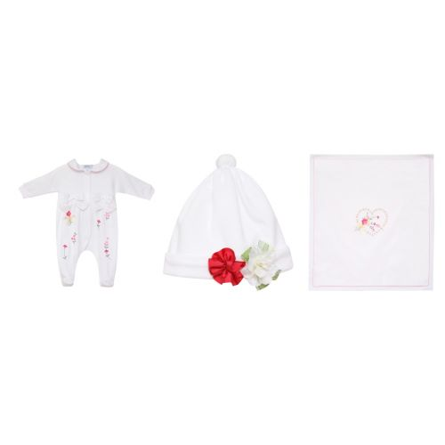 White Floral Pyjama with Hat & Blanket